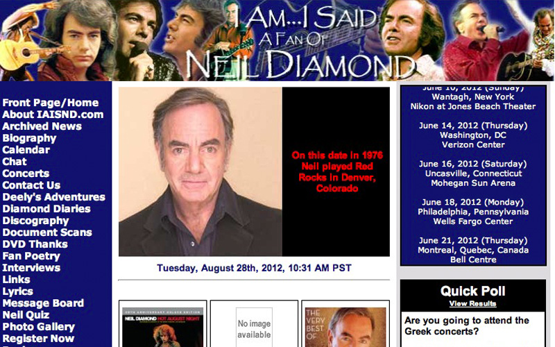 Neil Diamond - Largest Web Site
